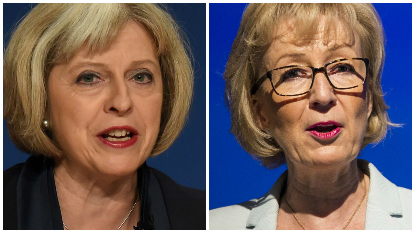 Theresa May (L) and Andrea Leadsom (PA)
