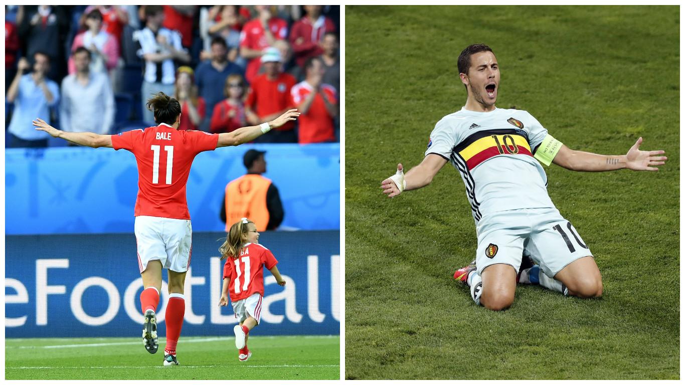 Superstars Gareth Bale (L) and Eden Hazard both want a place in the semi-finals (Mustafa Yalcin/Anadolu Agency/Getty Images & AP Photo/Francois Mori)