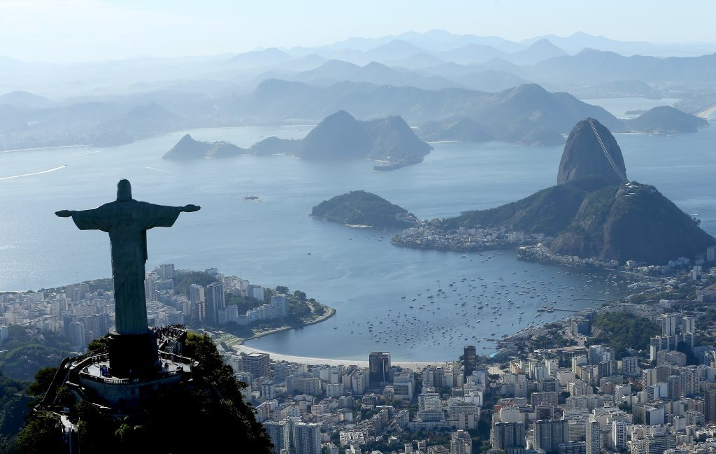 Aerial view of Christ the Redeemer, Flamengo Beach, the Sugar Loaf and Guanabara Bay (Matthew Stockman/Getty Images)