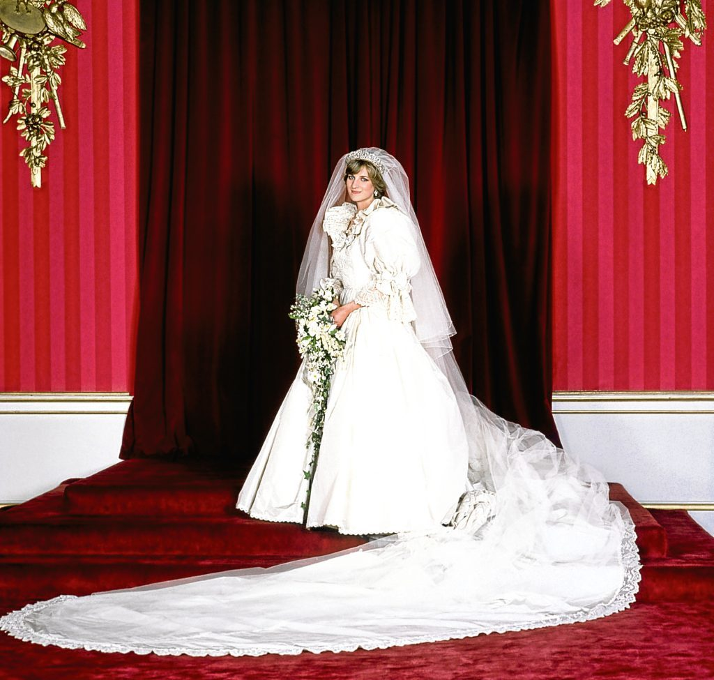 The Princess of Wales in her bridal gown at Buckingham Palace (PA Archive)