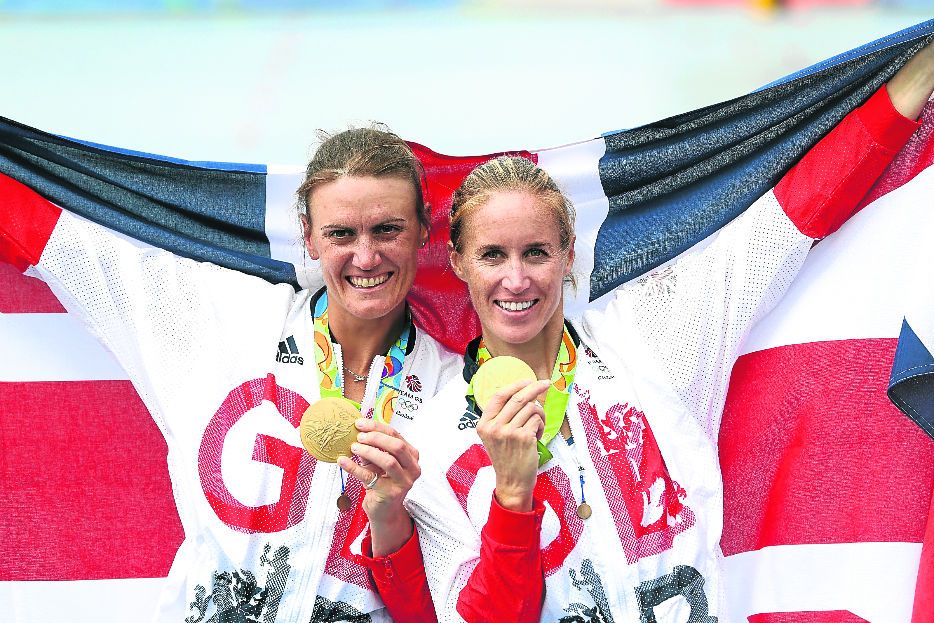 Gold medallists Helen Glover (R) and Heather Stanning (L) of Great Britain (Photo by Ezra Shaw/Getty Images)