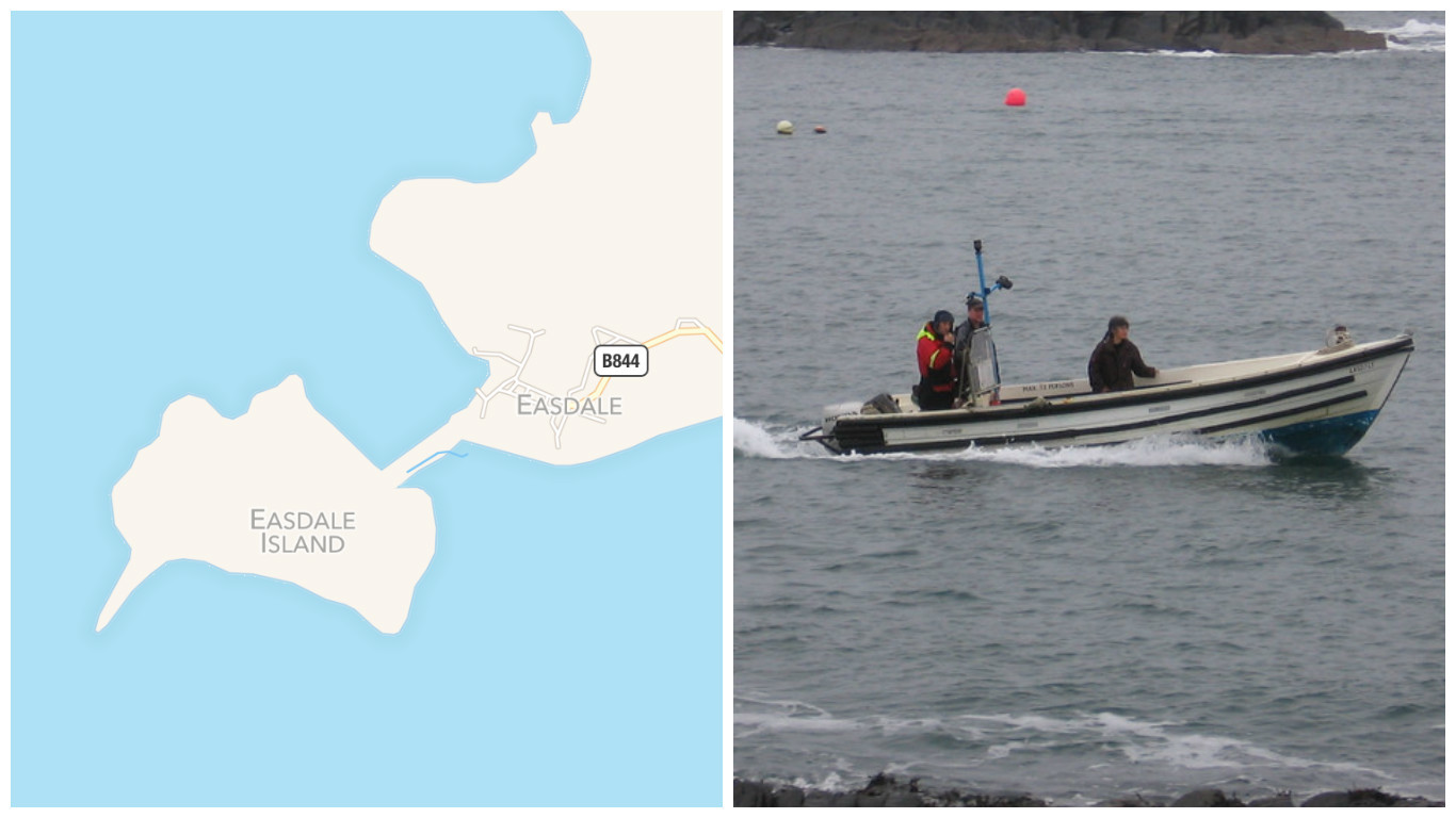 Apple Maps shows a strip of land between the two islands, but a ferry is required to cross