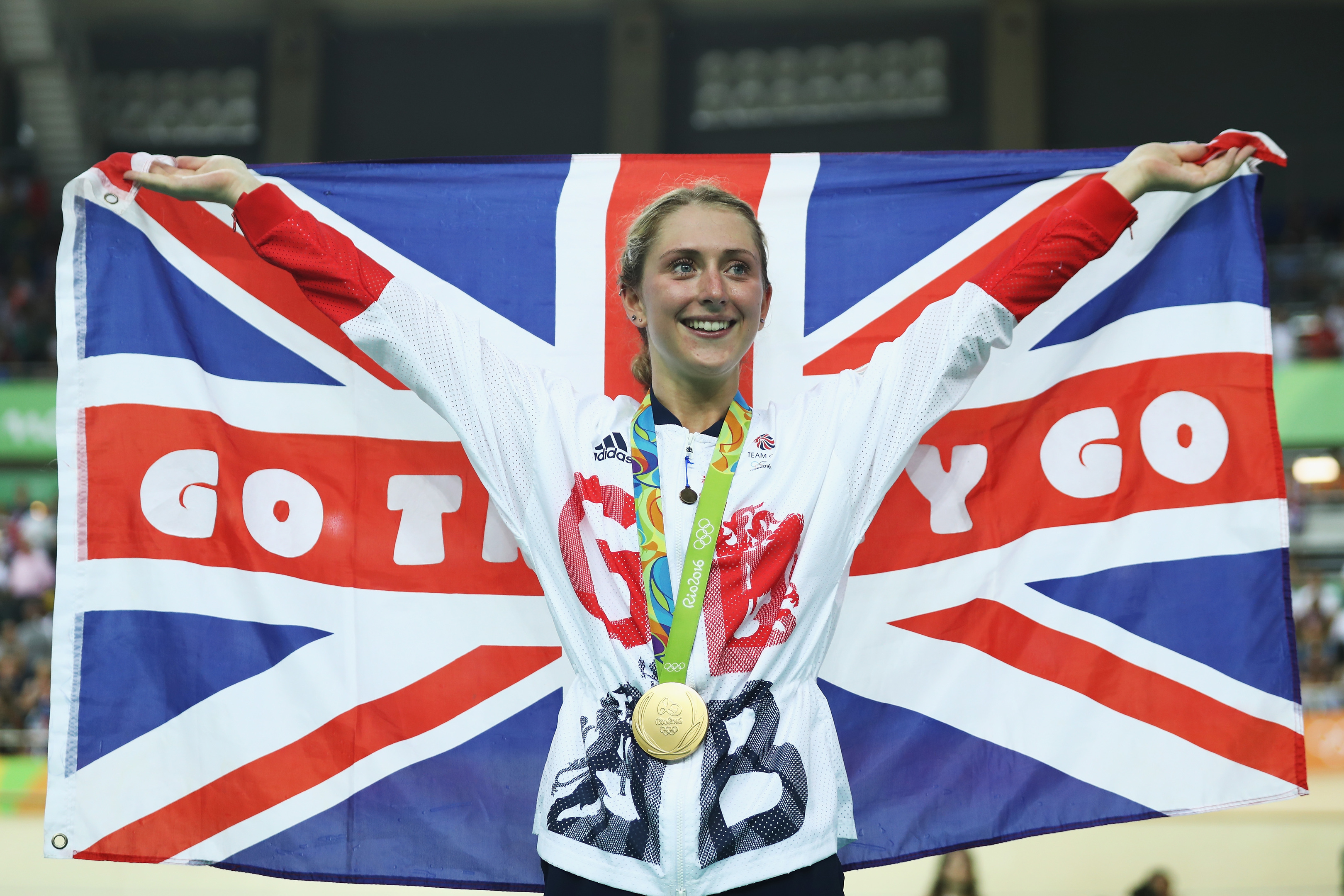 Gold medalist Laura Trott of Great Britain celebrates during the medal ceremony after the women's Omnium Points race (Bryn Lennon/Getty Images)