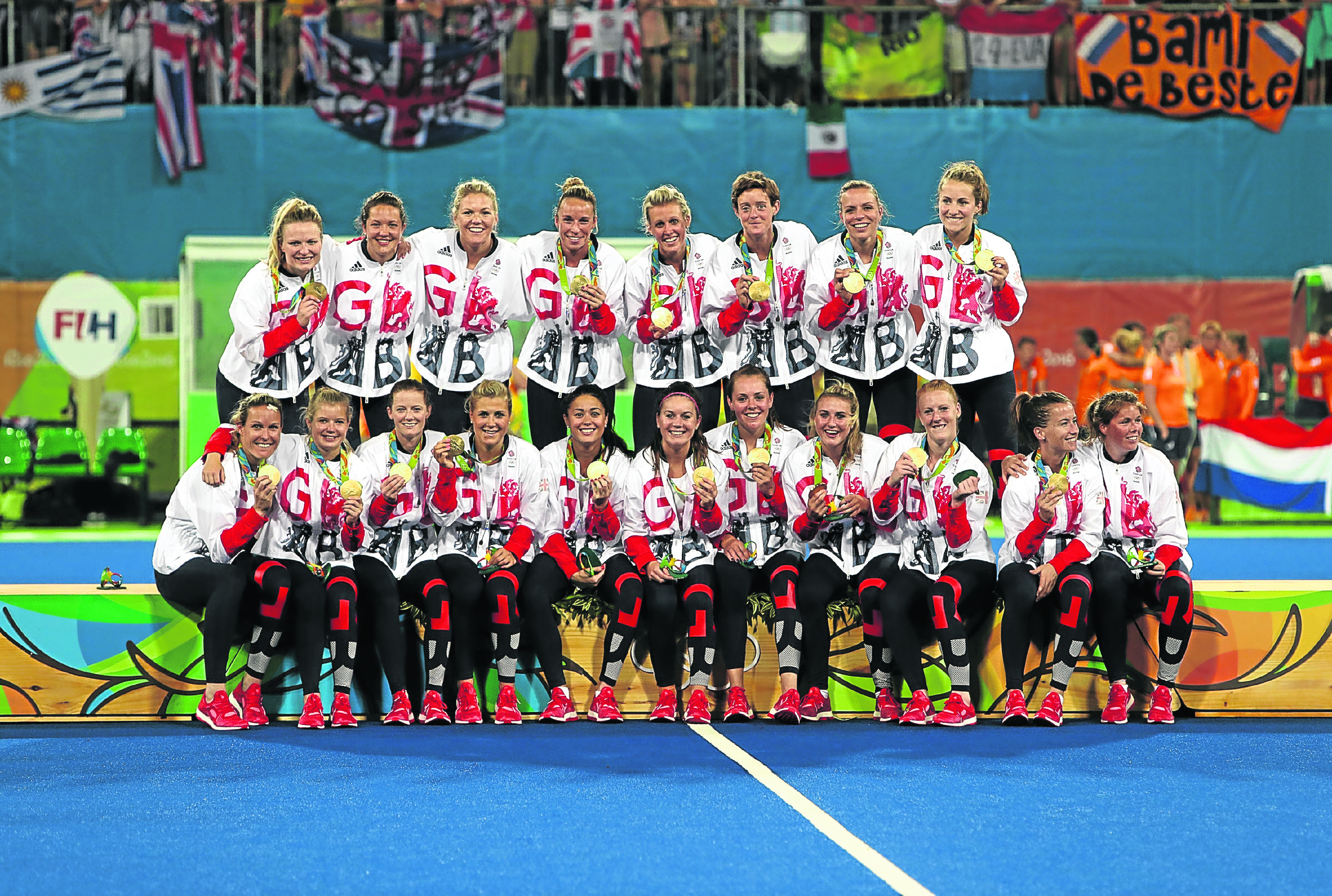 Great Britain with their medals following victory over Holland in the gold medal match at the Olympic Hockey Centre on the Fourteenth day of the Rio Olympics Games, Brazil (David Davies/PA)