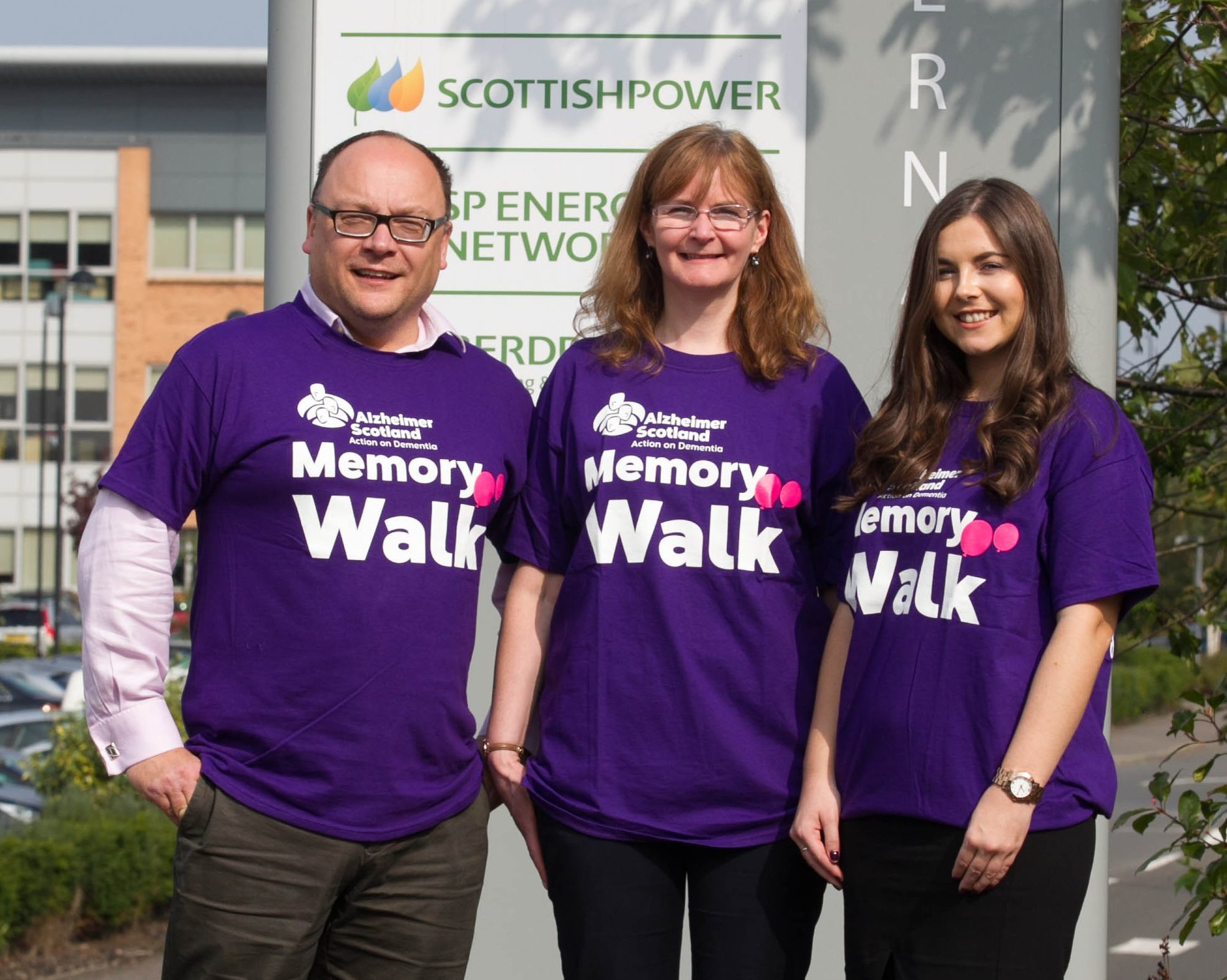 Scottish Power staff Eric Brunger, Cathie Hill and Laura Hopton take part in a Memory Walk (Chris Austin/DC Thomson)