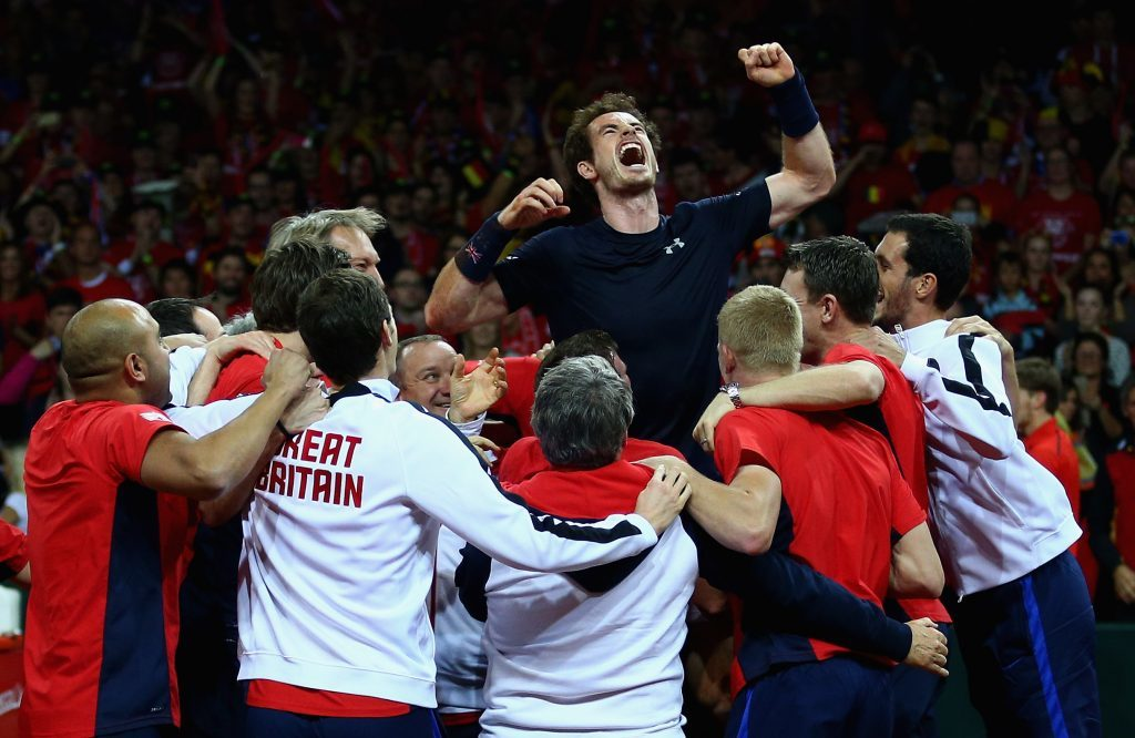 Andy celebrates with his team after clinching the 2015 Davis Cup (Clive Brunskill/Getty Images)