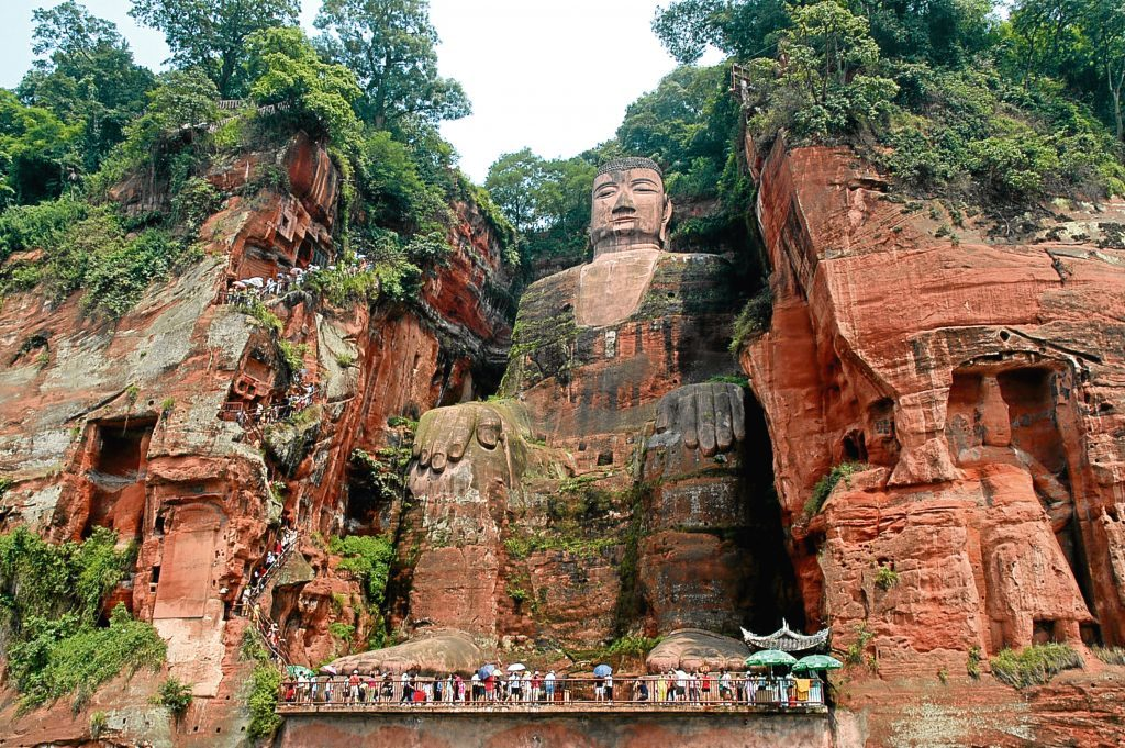 The statue of Buddha is 71 meters high and located near Leshan, China (Getty Images)