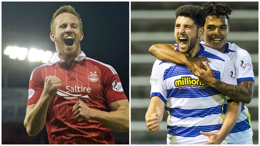 Aberdeen's Adam Rooney and Morton's Thomas O'Ware and Jai Quitongo (SNS Group / Roddy Scott & Craig Foy)