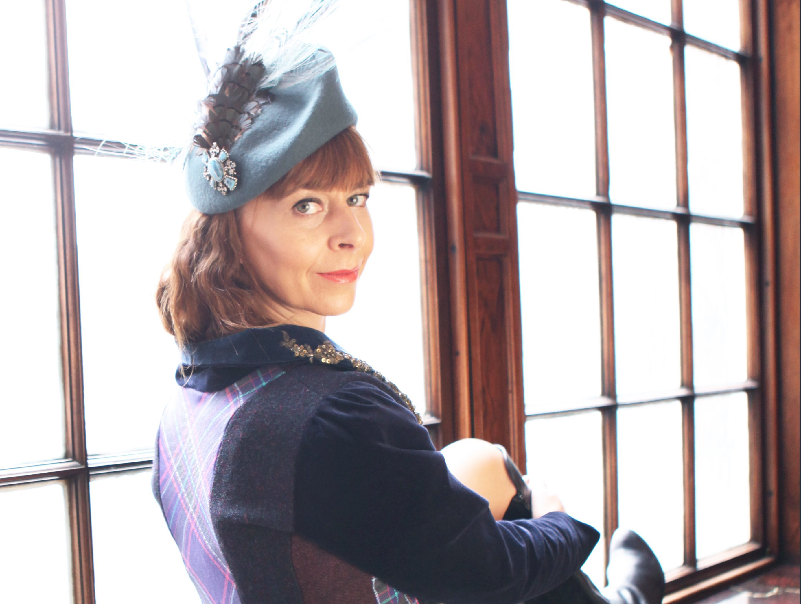 Game of Thrones star Kate Dickie wears Alzheimer Scotland's Frock Coat ( Frock Coat by Judy R Clark/ Hat by Fabhatrix) (Copyright Nancy MacDonald)