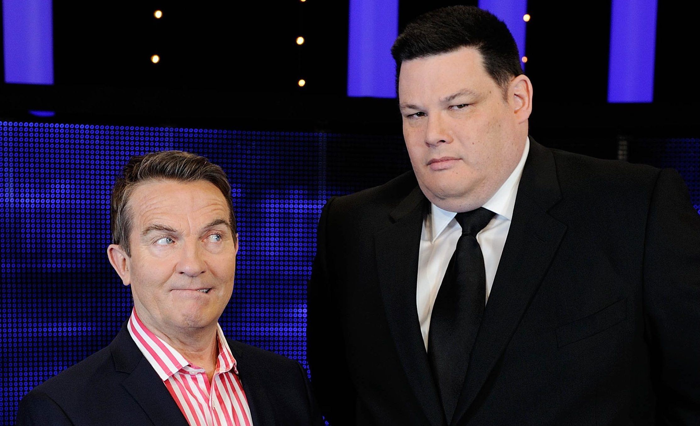Host Bradley Walsh with Chaser Mark Labbett (ITV)