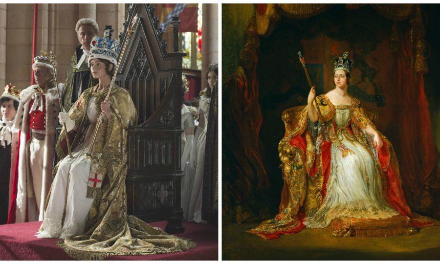 Queen Victoria (Left: Jenna Coleman from Queen, by ITV, Right: portrait of Queen Victoria)