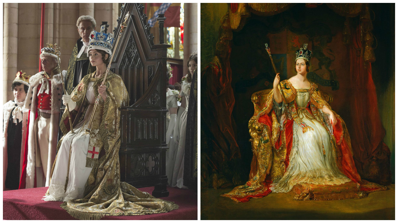 Queen Victoria (Left: Jenna Coleman from Queen, by ITV, Right: portrait of Queen Victoria)