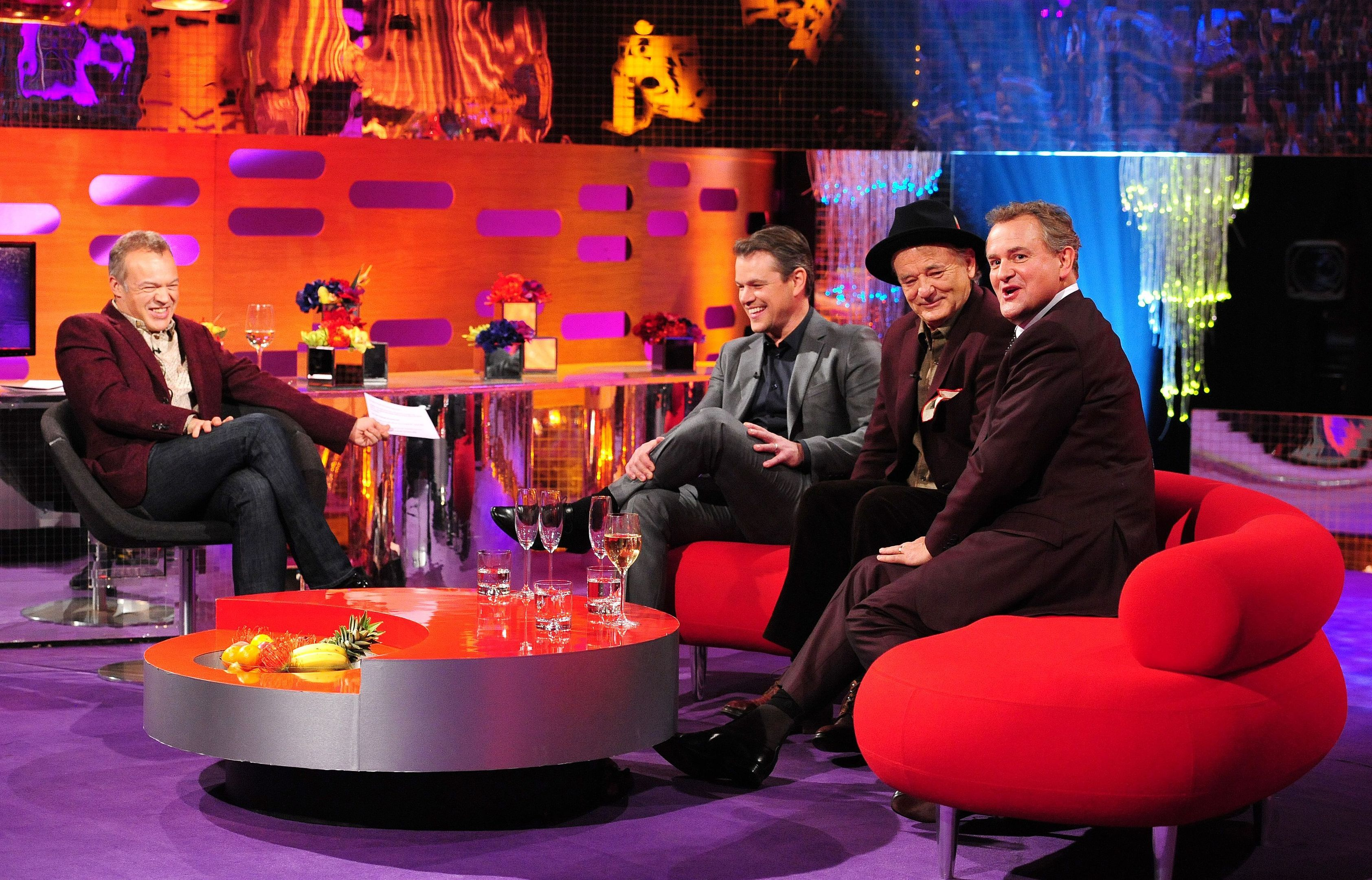 (Left - right) Host Graham Norton, Matt Damon, Bill Murray and Hugh Bonneville during filming of the Graham Norton Show, at the London Studios (BBC)