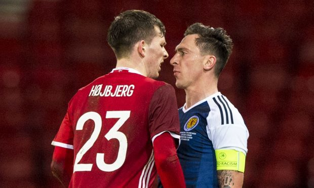 Scott Brown (right) in action for Scotland (SNS Group)