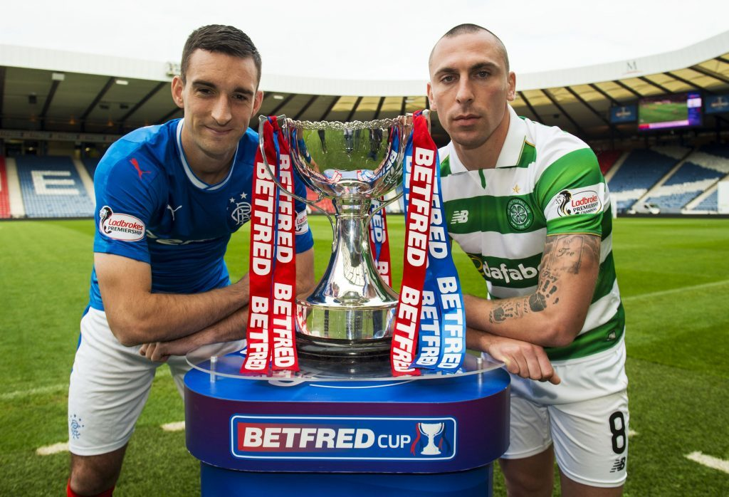 Rangers Captain Lee Wallace (L) and Celtic Captain Scott Brown (R) preview the upcoming Betfred Cup semi final (SNS Group / Alan Harvey)