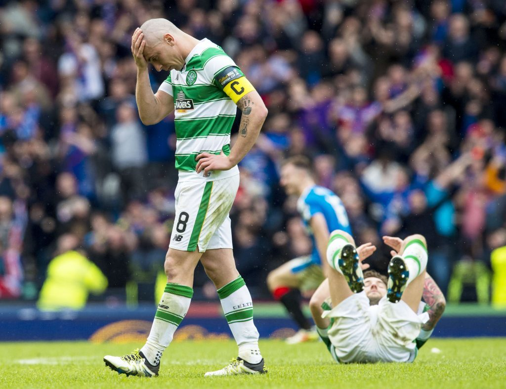 Celtic captain Scott Brown at full-time against Rangers in the last Hampden clash (SNS Group)