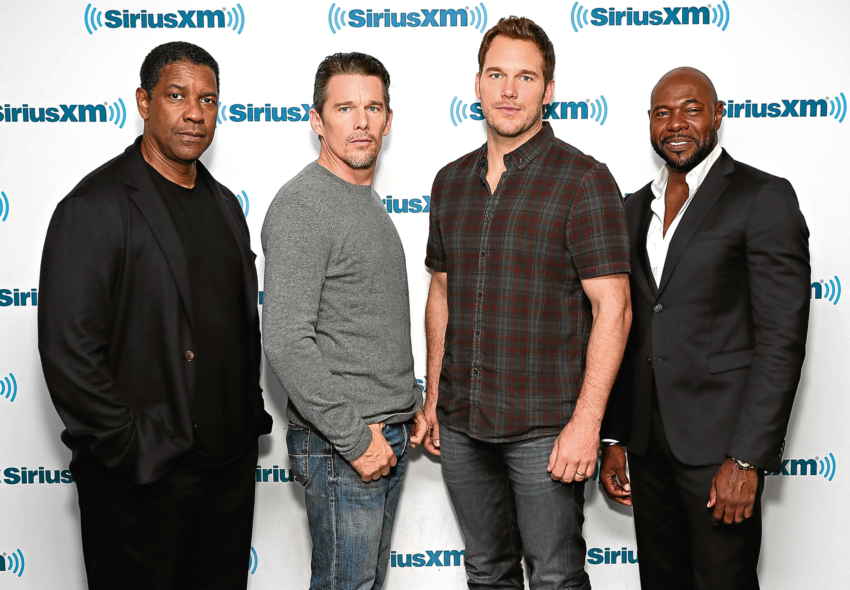 Actors Denzel Washington, Ethan Hawke and Chris Pratt and director Antoine Fuqua (Cindy Ord/Getty Images for SiriusXM)