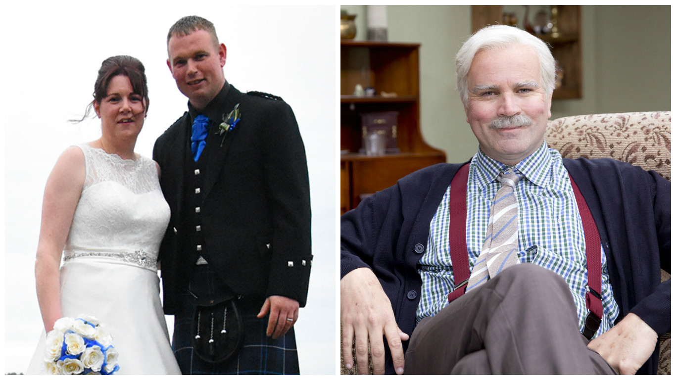 Leanne and Stuart McSherry from Dumfries , who interrupted their wedding celebrations so that they could watch the new series of Still Game (Darren Wyllie Photography)