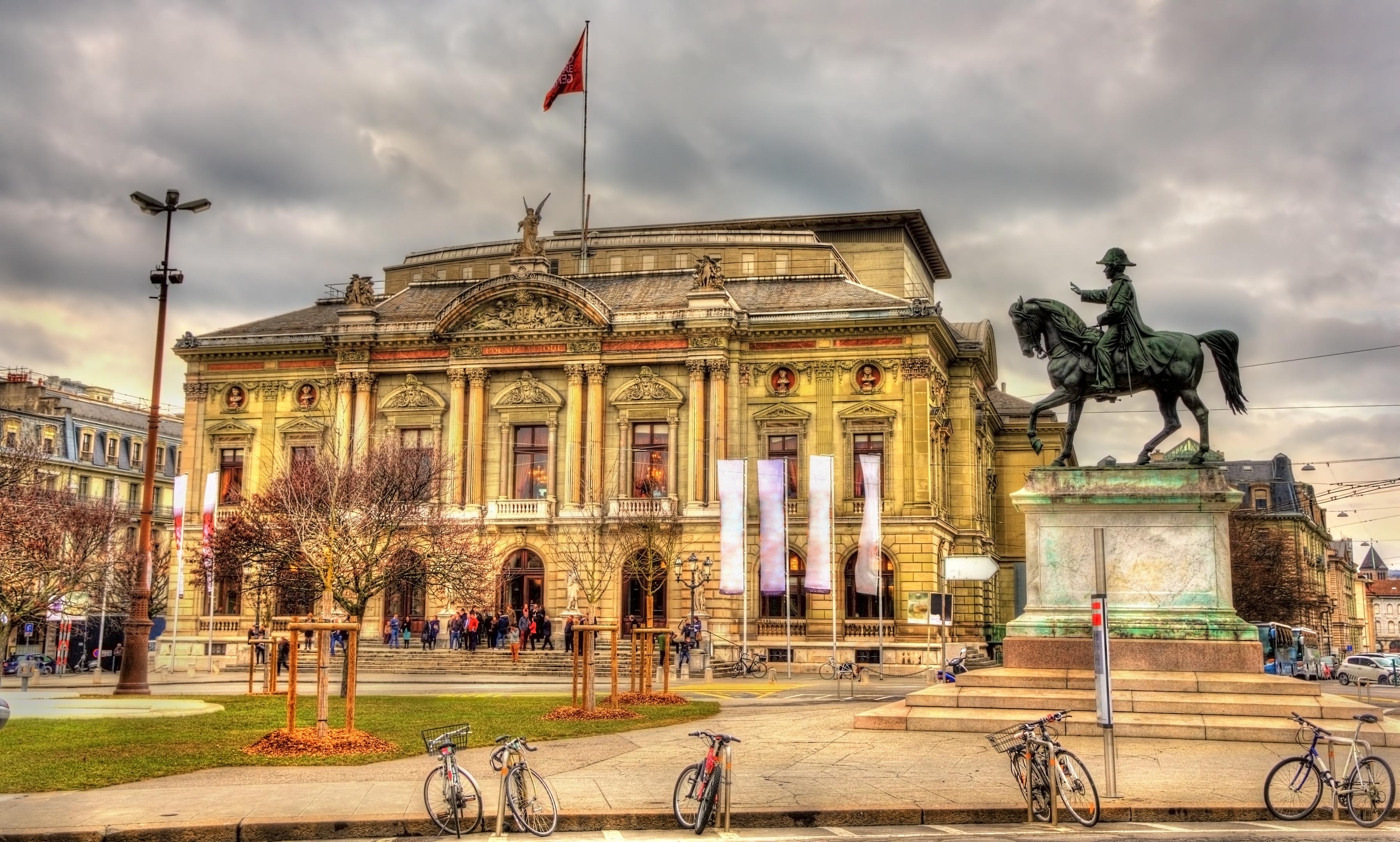 Grand Theatre de Geneve and Henri Dufour Statue - Switzerland (Getty)