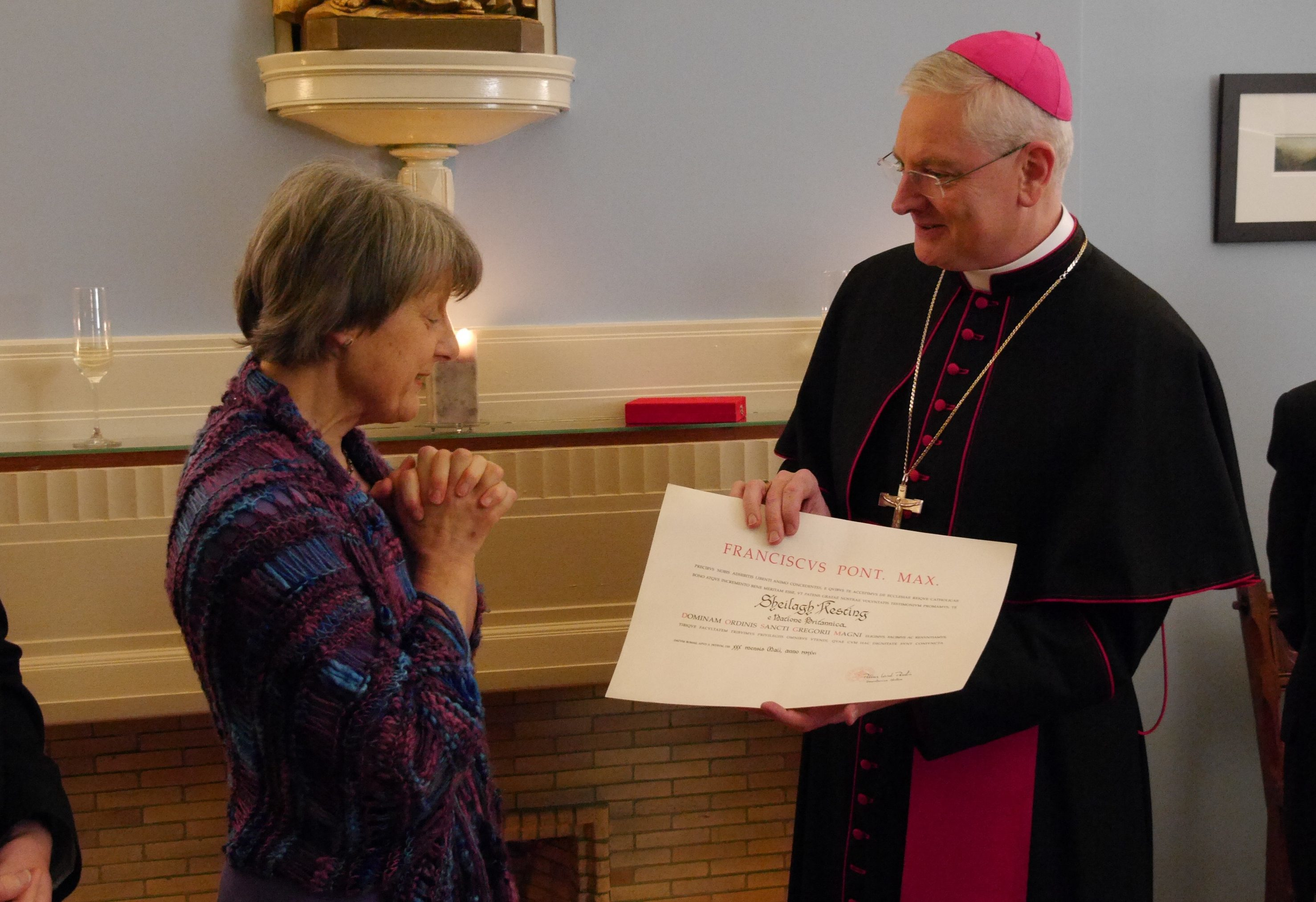 Archbishop Cushley invests Dame Sheilagh Kesting with the Order of St Gregory the Great (Church of Scotland)