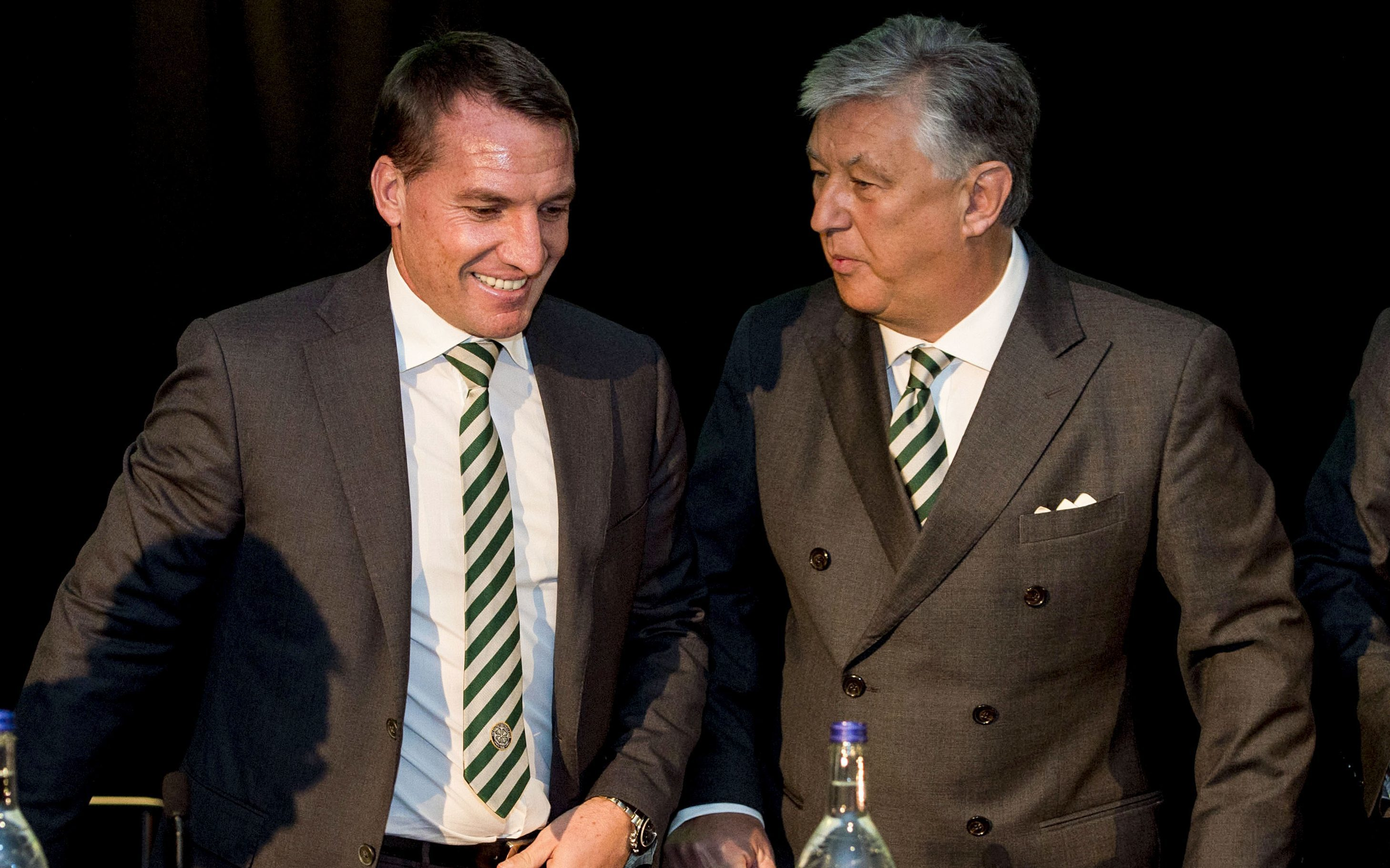 Celtic manager Brendan Rodgers and Chief Executive Peter Lawwell at the club's AGM (SNS Group / Craig Williamson)