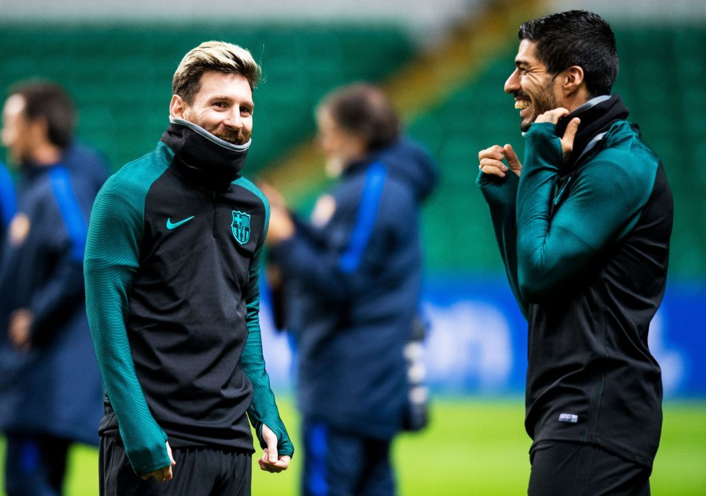 Barcelona's Lionel Messi (L) and Luis Suarez (R) training at Celtic Park (Andrew Milligan / PA)