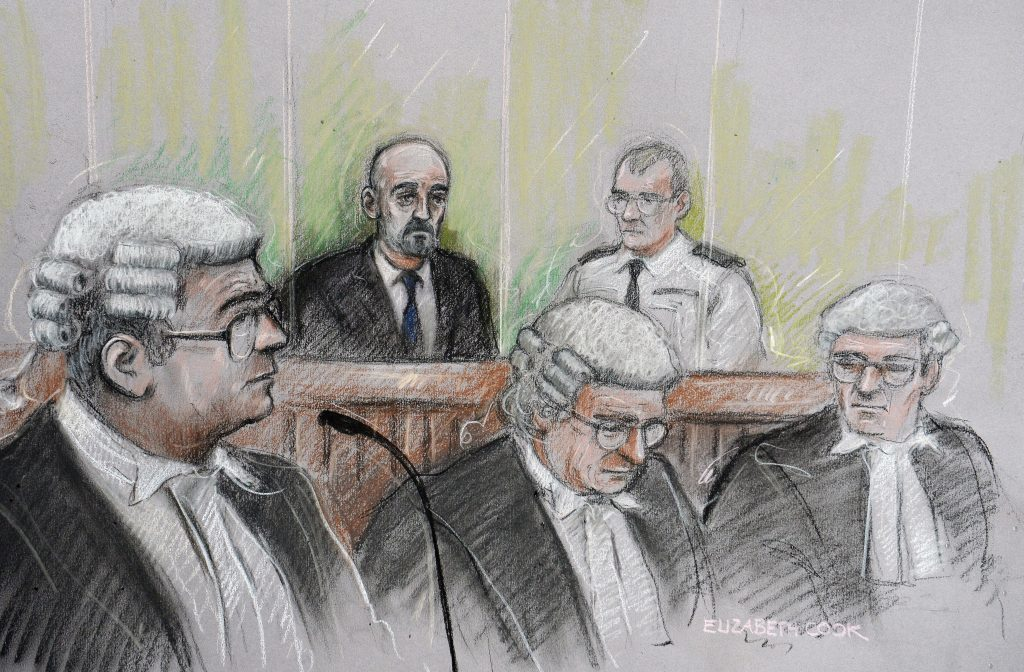 Court artist sketch as Thomas Mair sits in the dock at the Old Bailey (Elizabeth Cook/PA Wire)