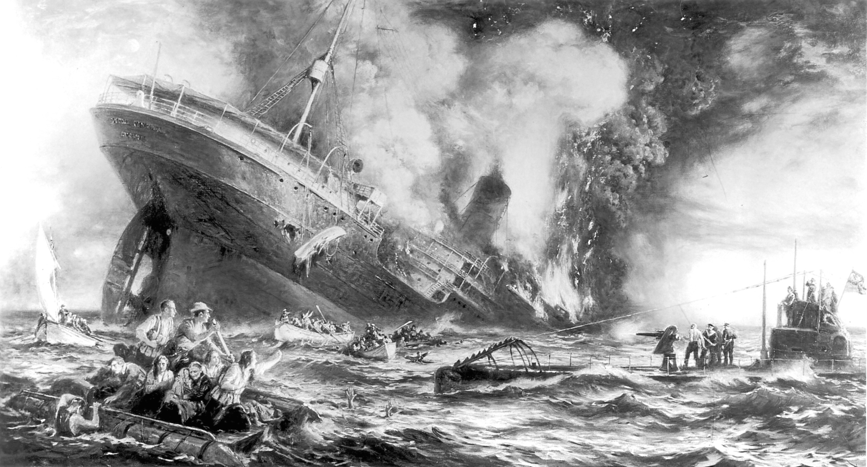 Conspiracy theorists maintain that the sinking of the Lusitania was no accident (Three Lions/Getty Images)