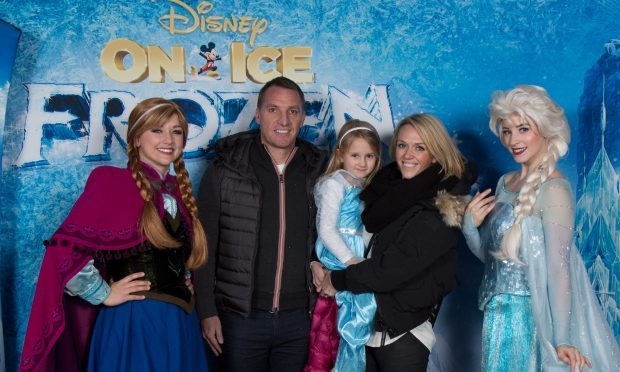 Manager for Celtic Brendan Rodgers and family meet Anna and Elsa (Disney on Ice)