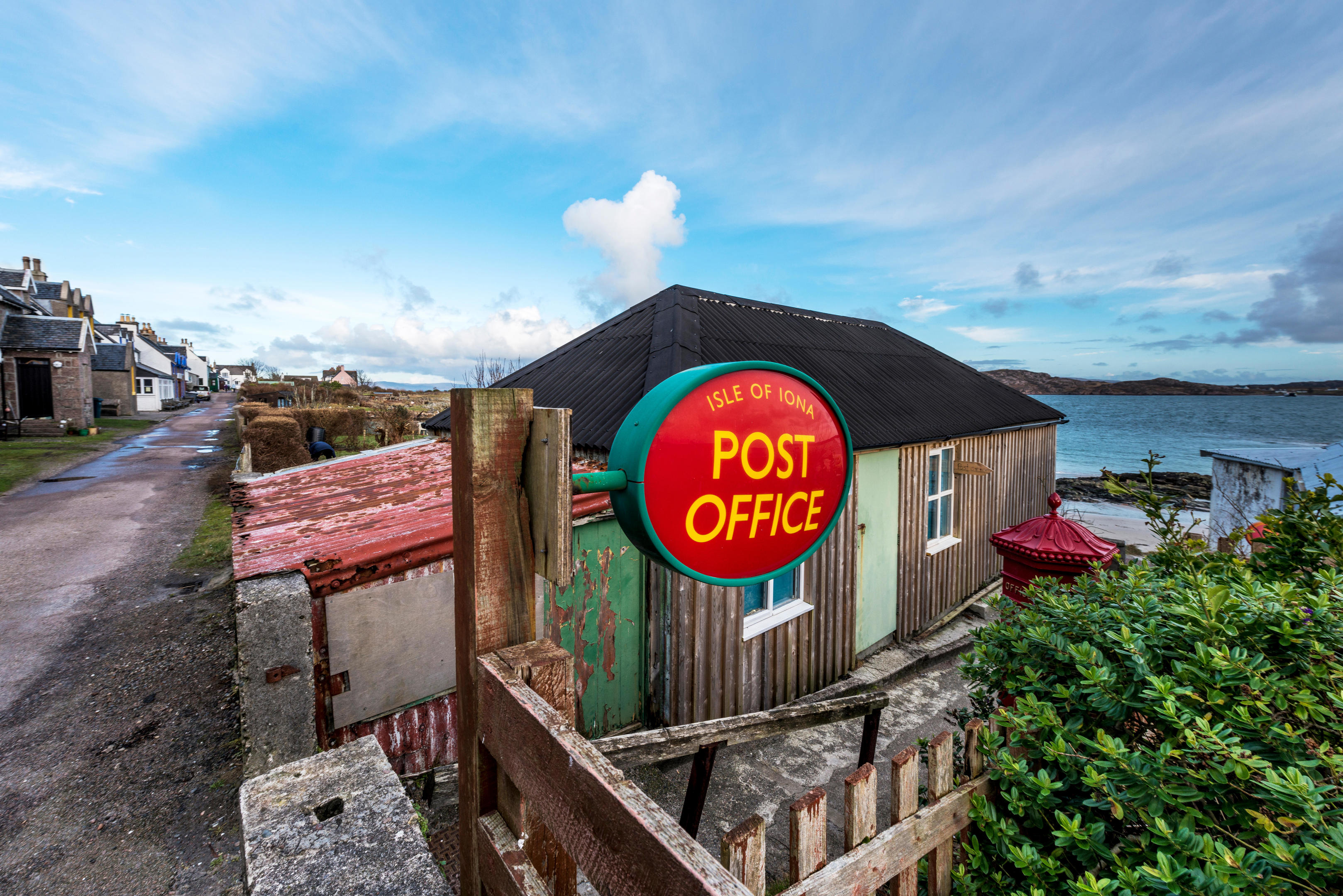 The Post Office on the Isle of Iona is on the beach in Iona's only village, Baile Mor