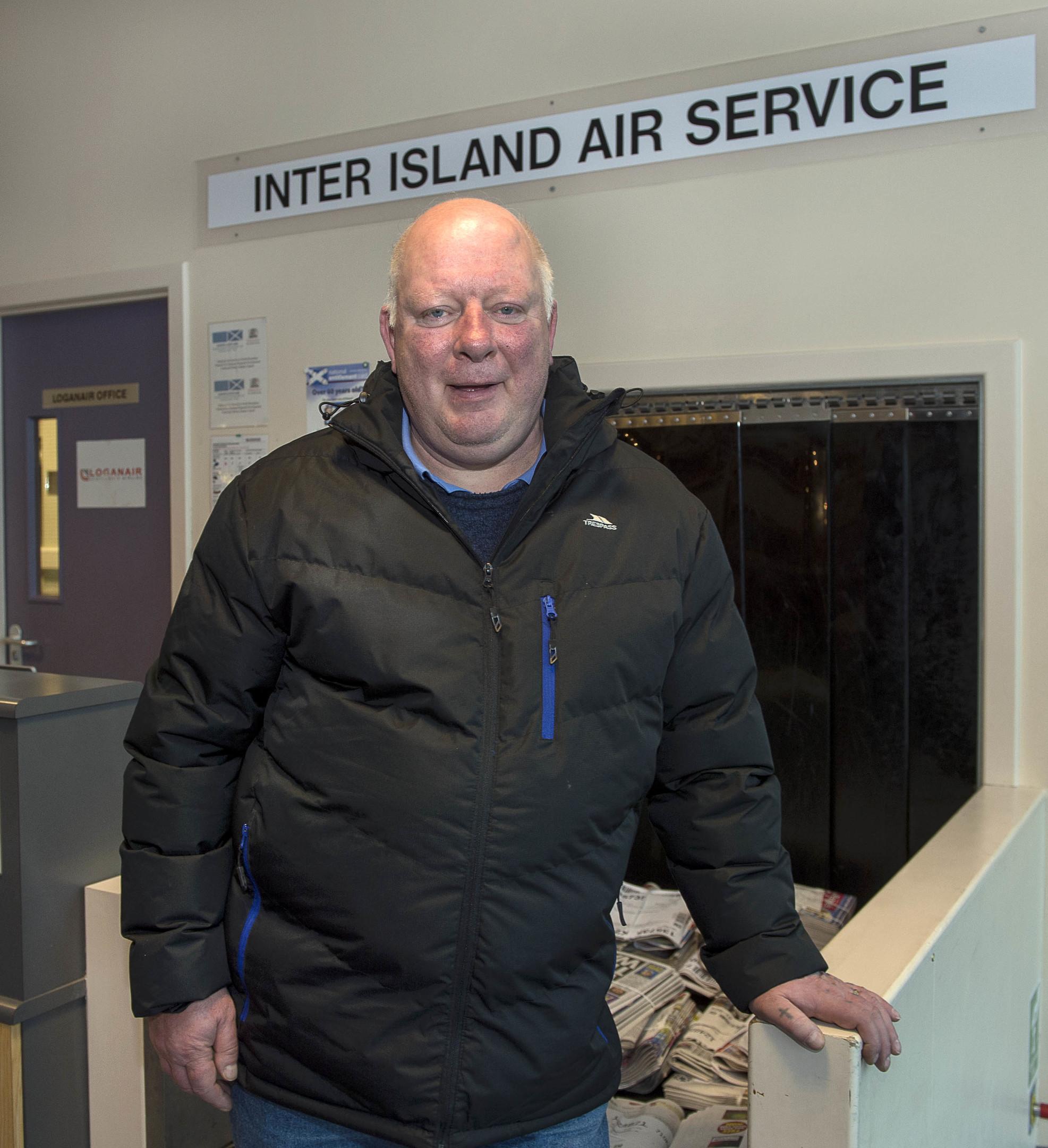 World's Shortest Flight Westray to Papa Westray- Local resident Frank Hilton who makes the short flight home (TREVOR MARTIN)