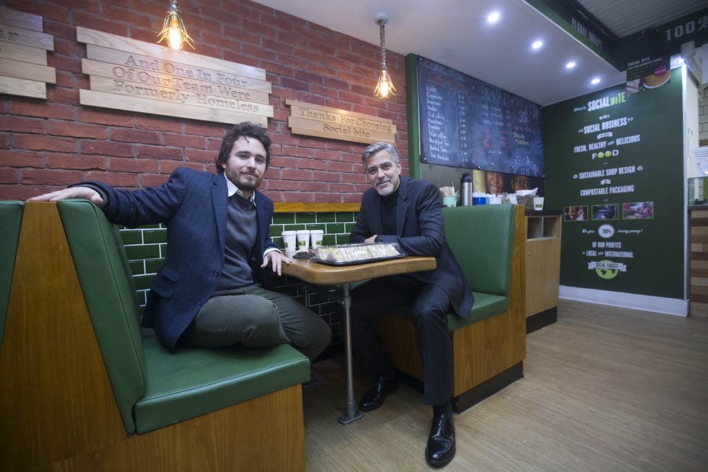 EDINBURGH. Actor George Clooney visit's Social Bite sandwich shop in Edinburgh (Jeff Holmes)