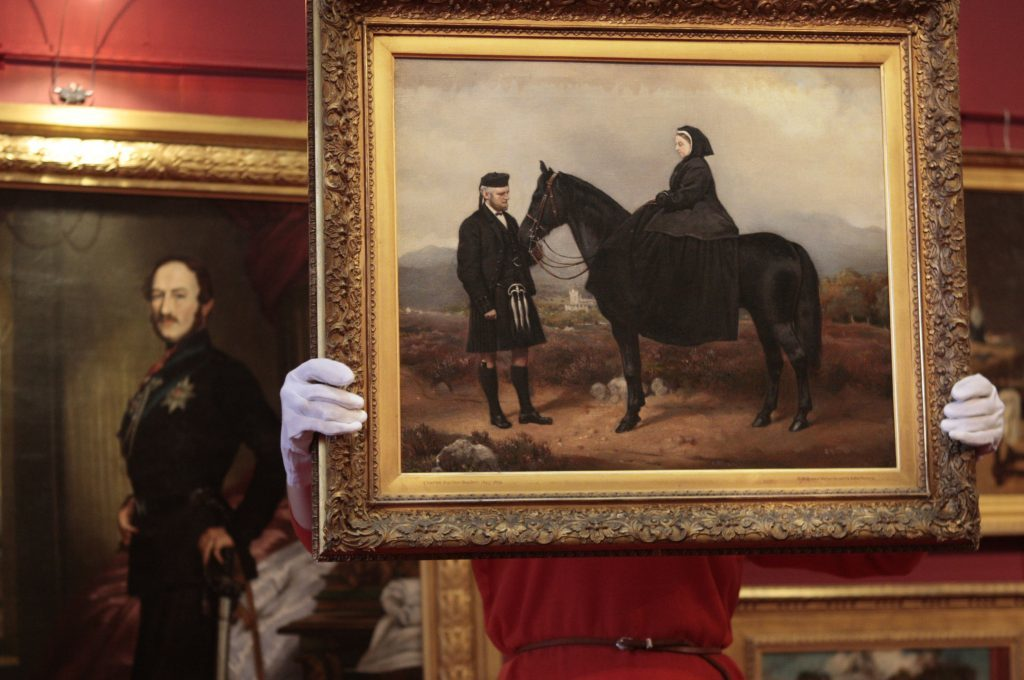 An oil painting of Queen Victoria and John Brown (David Cheskin / PA Archive)