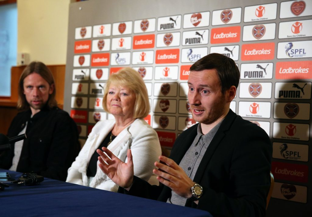 New Heart of Midlothian manager Ian Cathro (right) assistant manager Austin MacPhee (left) and owner Ann Budge (Andrew Milligan/PA Wire)