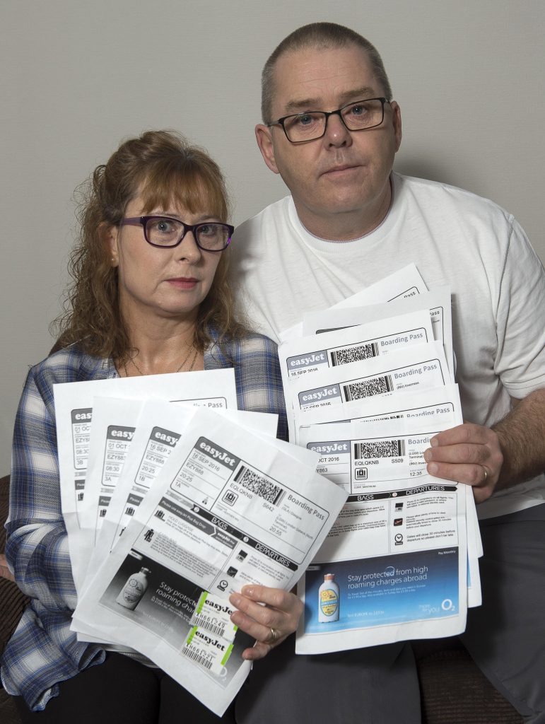 Martin and Heather Corp with their 14 EasyJet Boarding Passes (Trevor Martin)