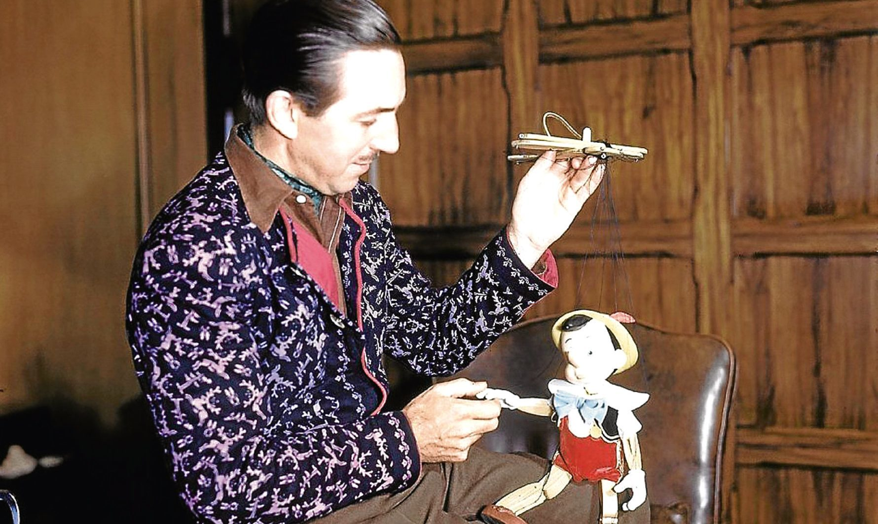 Walt Disney with one of his films' characters, Pinocchio, 1940 (Allstar/DISNEY)
