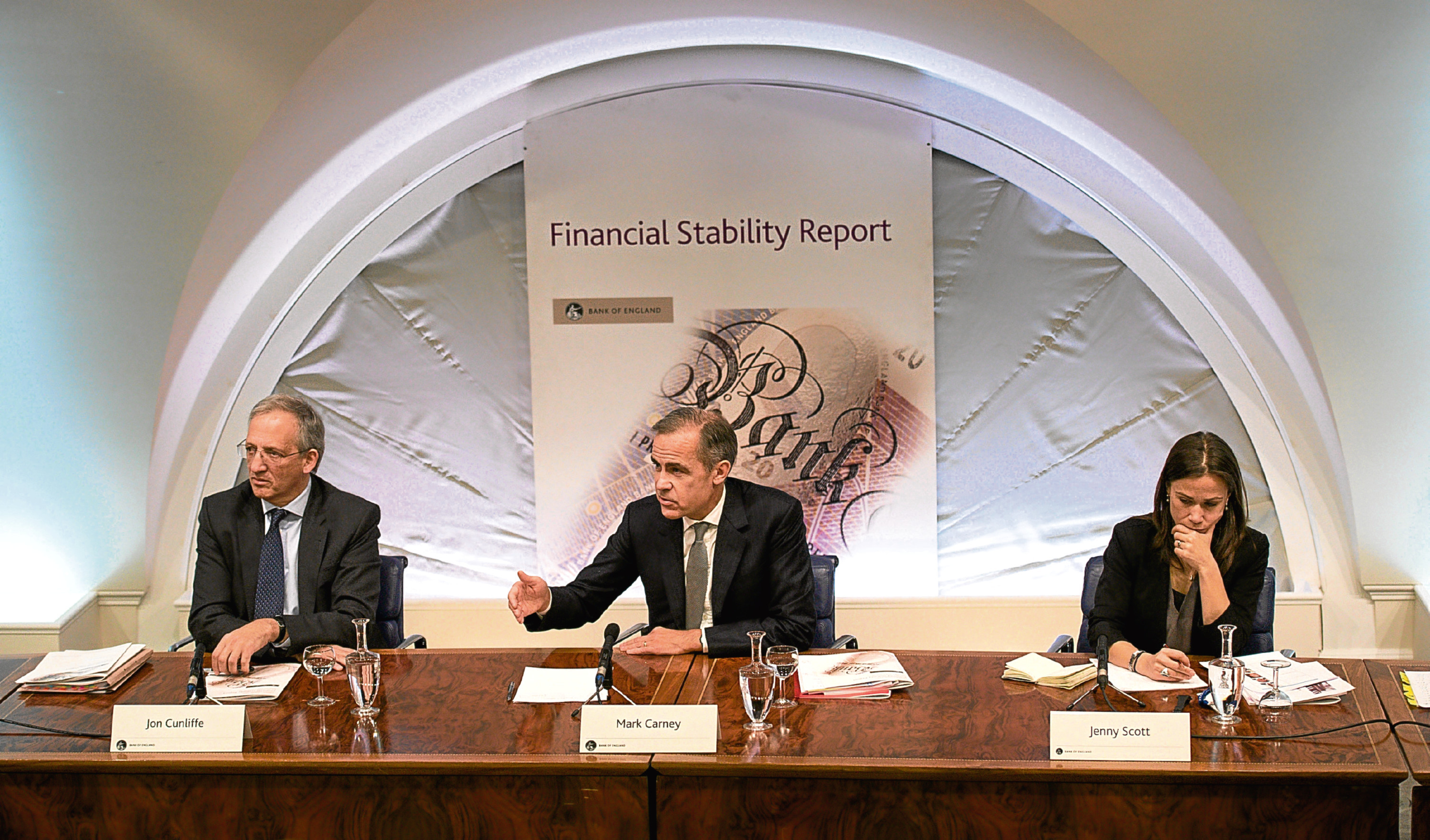 Governor of the Bank of England Mark Carney (centre) (PA Wire)