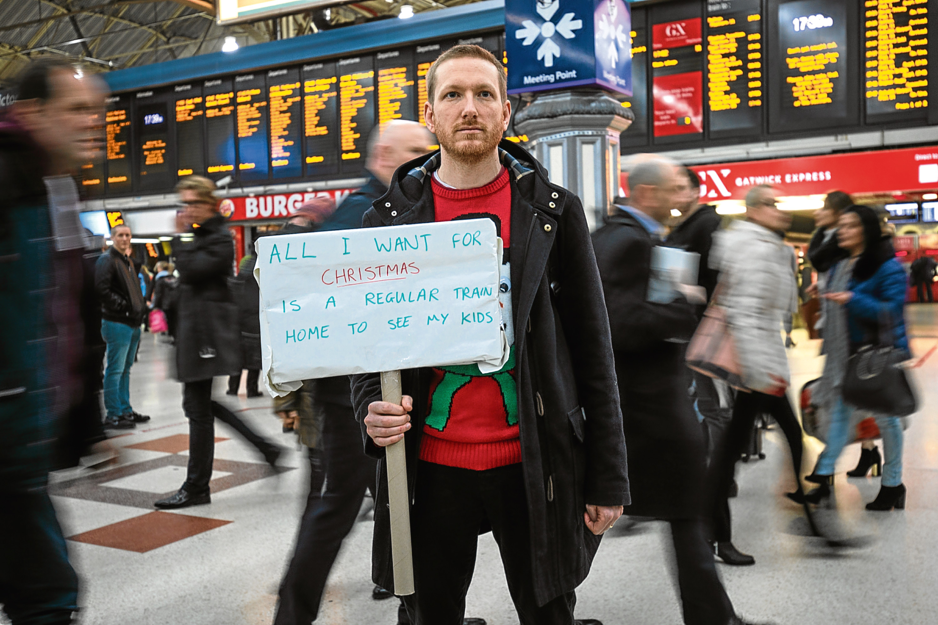A demonstrator holding a placard joins a protest at Victoria Station against Southern Rail (Jack Taylor/Getty Images)