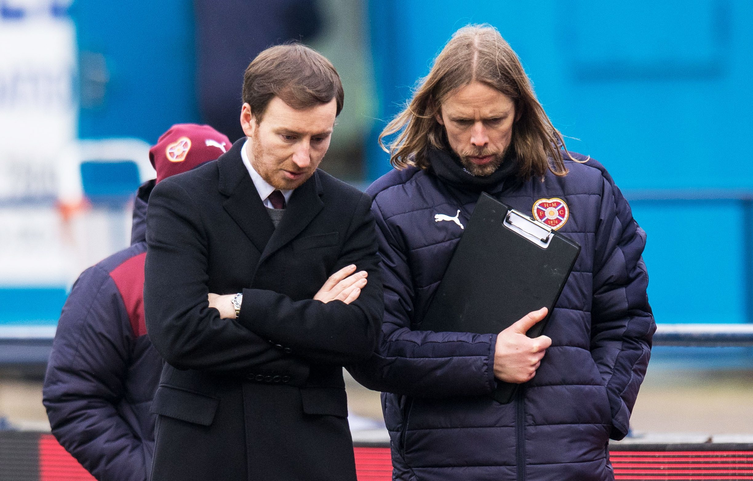 Hearts head coach Ian Cathro and assistant manager Austin MacPhee (SNS Group)