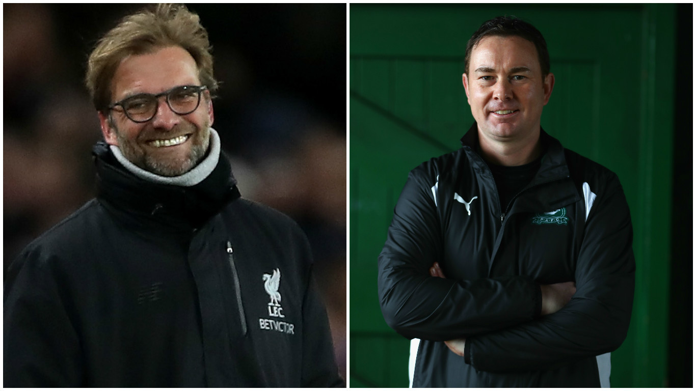 Former Ross County boss Derek Adams (right) is up against Liverpool in the FA Cup (Ian MacNicol & Michael Steele/Getty Images)
