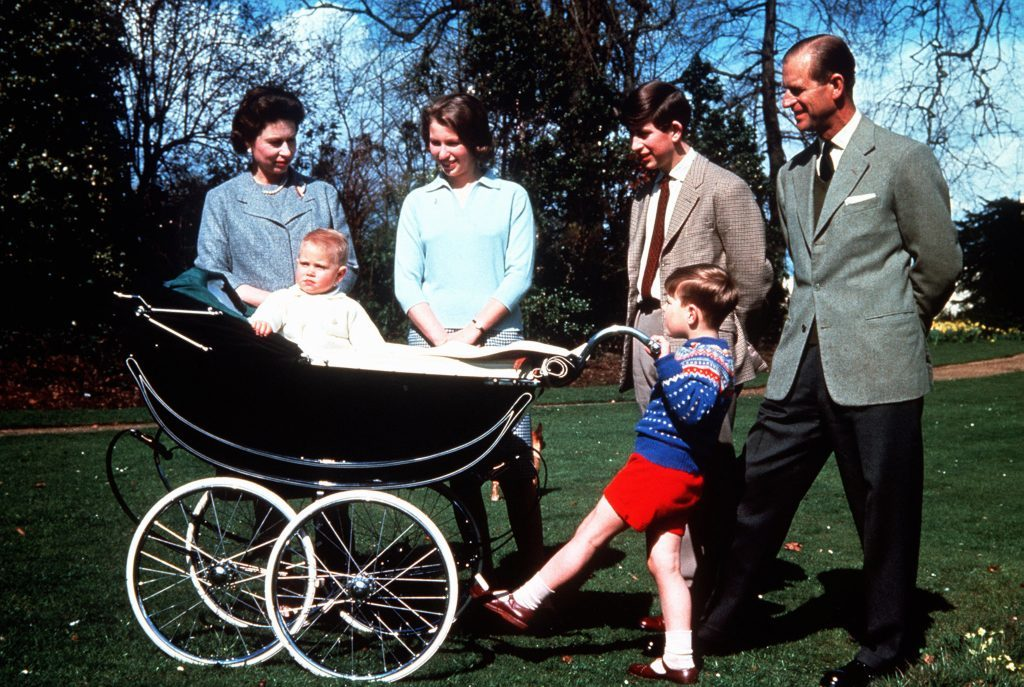 The Queen with the Duke of Edinburgh and their children, left to right, baby Prince Edward, Princess Anne, Prince Andrew and Prince Charles, on her 39th birthday.