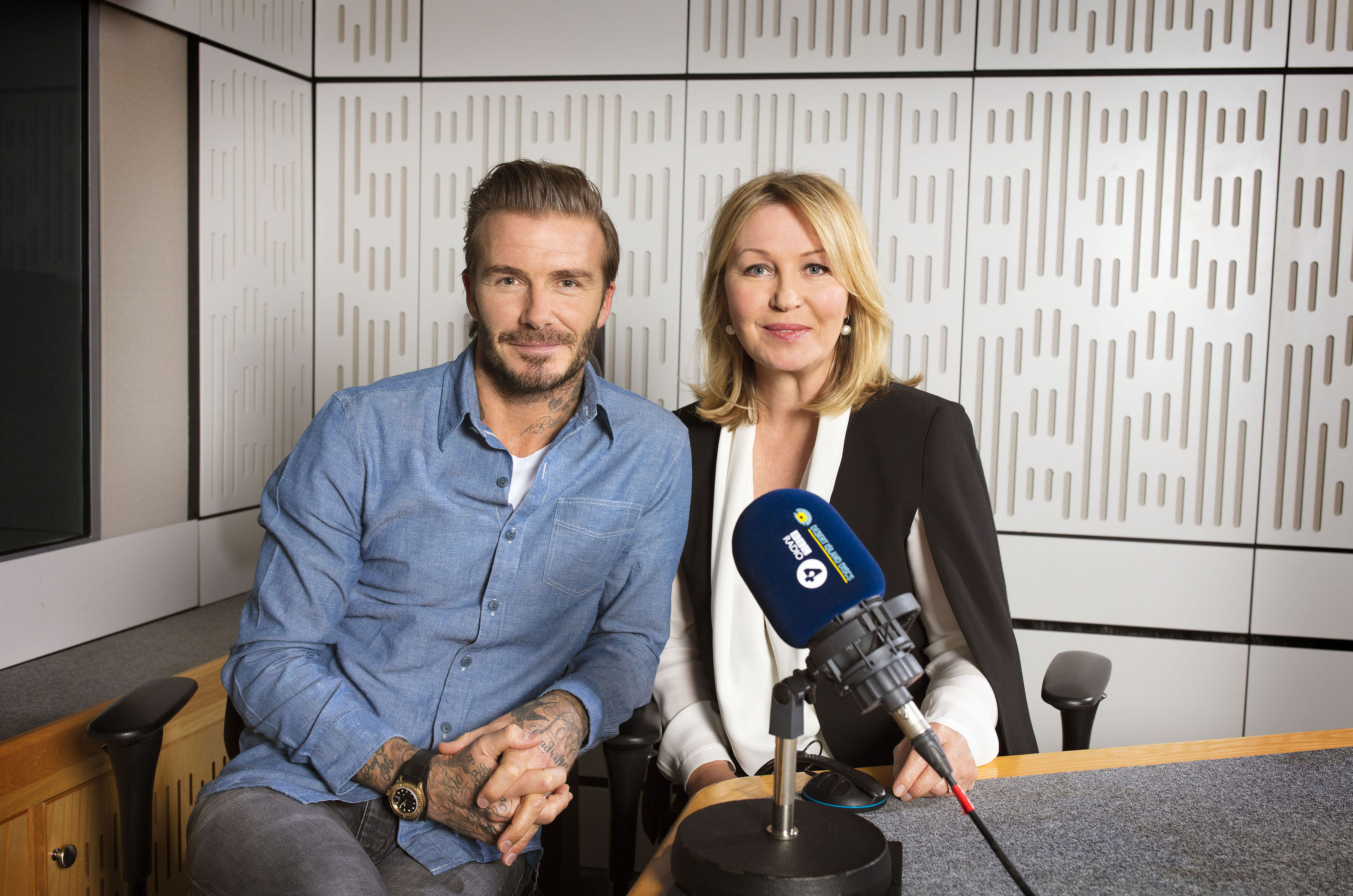 Kirsty Young with David Beckham as he joins Desert Island Discs for the programme's 75th anniversary edition  on Sunday (Sophie Mutevelian/BBC/PA Wire