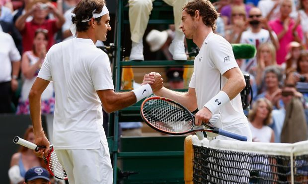 Roger Federer and Andy Murray at Wimbledon, 2015 (Photo by Julian Finney/Getty Images)