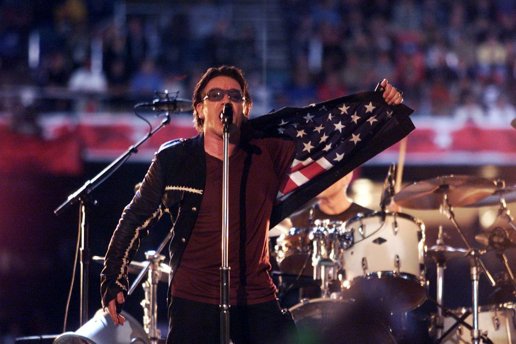 U2 singer Bono performing at the Louisiana Superdome in New Orleans (Frank Micelotta/Getty Images)