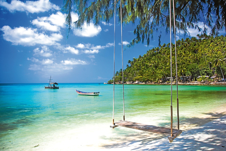 Swing hang from coconut tree over beach, Phangan island