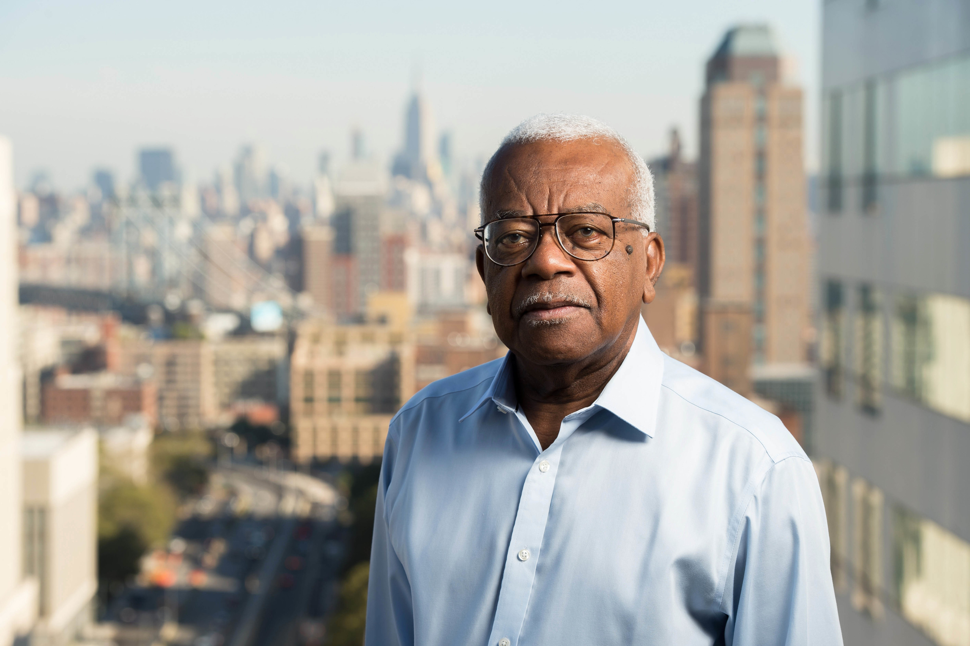 Trevor McDonald in New York skyline (ITV / Charlie Sykes)