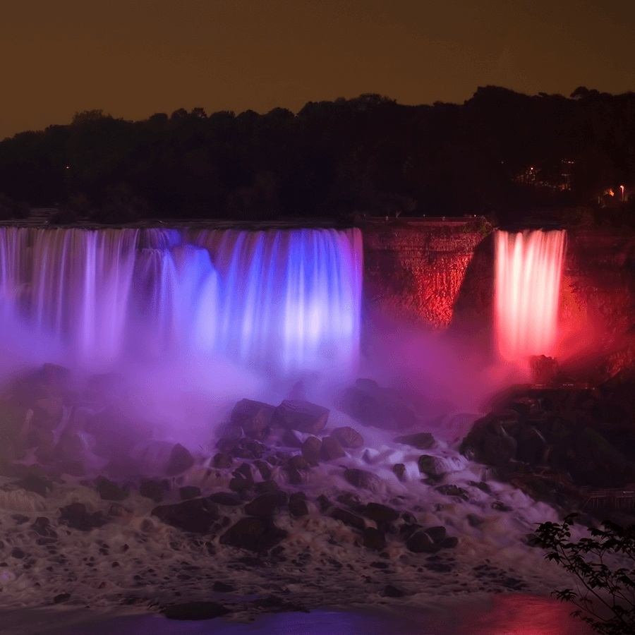 Global landmarks like Niagara Falls are illuminated in red light to support encephalitis awareness.