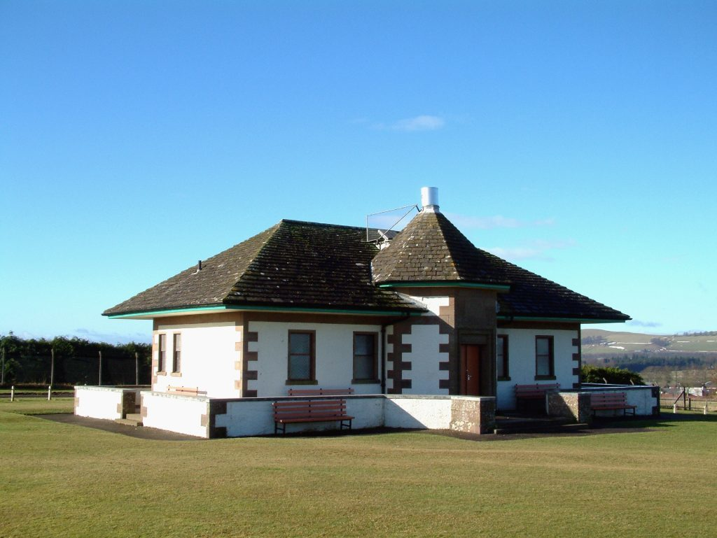 The Camera Obscura and Cricket Pavillion which was donated by J. M. Barrie of Peter Pan fame, on Kirrie Hill, Kirriemuir, Angus.