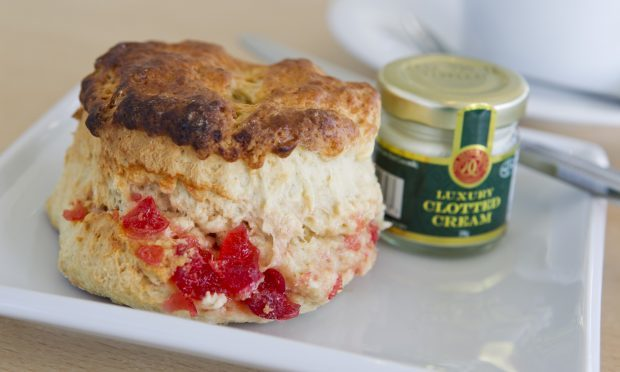 A delicious cherry scone with clotted cream at Sands (Andrew Cawley / DC Thomson)