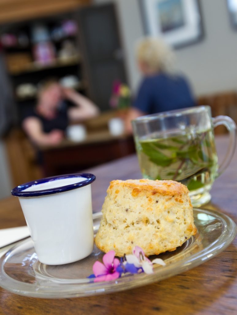 A cheese scone and mint fresh tea from the Secret Herb Garden (Andrew Cawley)